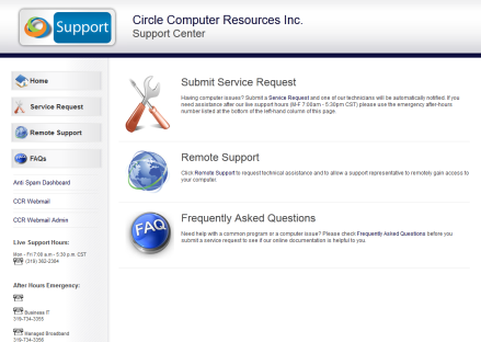 Customizable Support Center Template